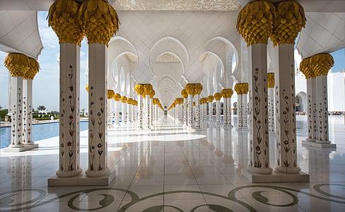 photo of white tile hallway