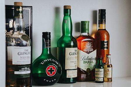 Bottles with liquor