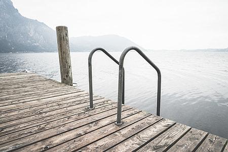 Swimming Wooden Pontoon with Ladder At Lake