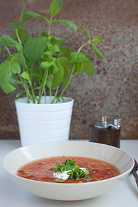 Red lentils soup with tomatoes, sour cream and mint