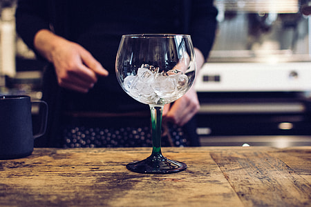Empty glass with ice