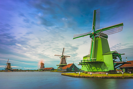 Windmills on a river in Holland