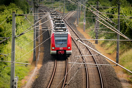 bird eye photography of red and white train