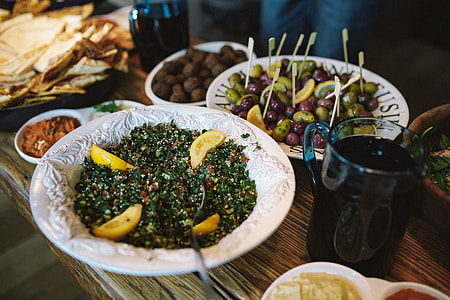 Table with Lebanese Food
