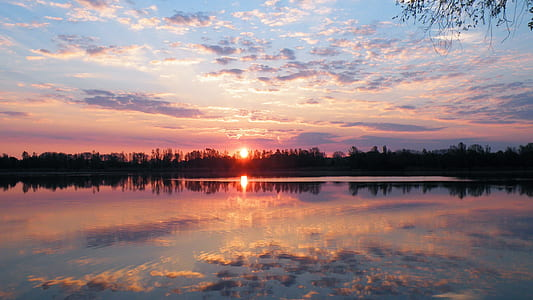 mirror photography of sunset