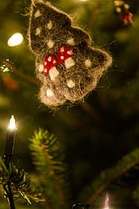 Green Christmas Tree Ornament With String Lights