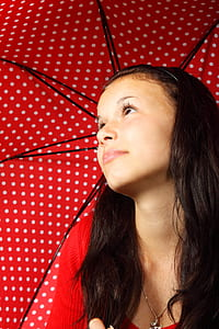 girl in red top holding red and white polka-dot parasol