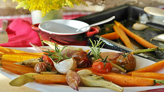 assorted vegetable on white ceramic tray