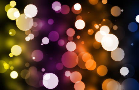 purple, blue, and orange bokeh photography