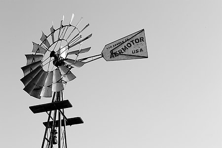 Black White Windmill Sign Wind
