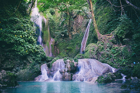 Water Falls in With Green Trees Photography
