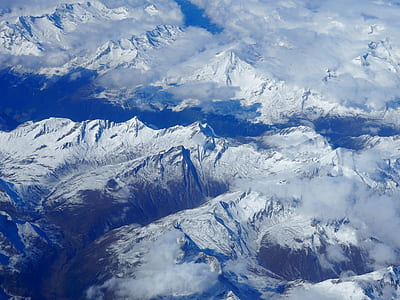 Blue White Clouds and Mountains Photo