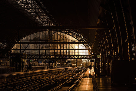 silhouette of people walking on train station