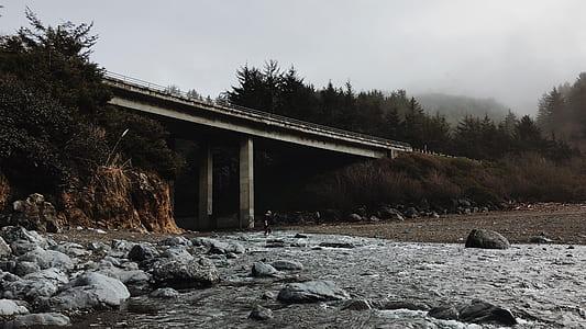 gray concrete bridge photography