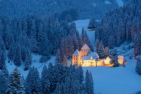 white mansion in middle of snowfield with lights during day