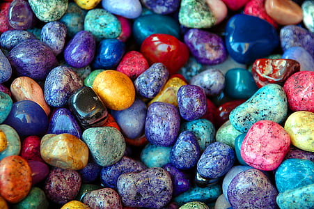 macro shot of multicolored pebble stones