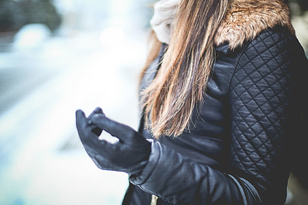 Girl with Black Leather Jacket in Winter