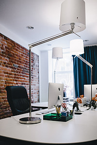 Modern office Interior with old vintage brick Wall