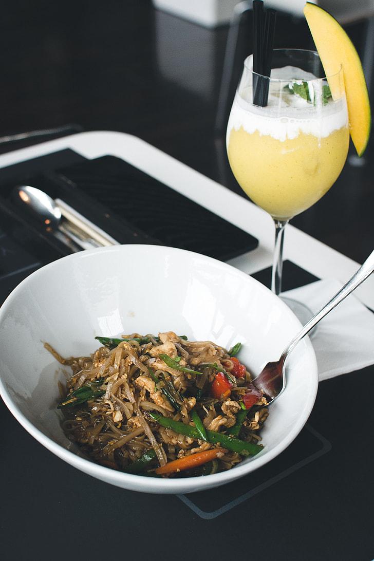 Thai noodles in a restaurant