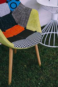 Various seats in a sunny garden