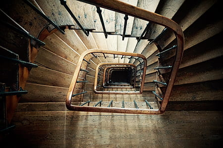 top view of brown spiral staircase