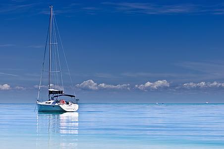 blue, ocean, yacht, sailing, calm, reflection