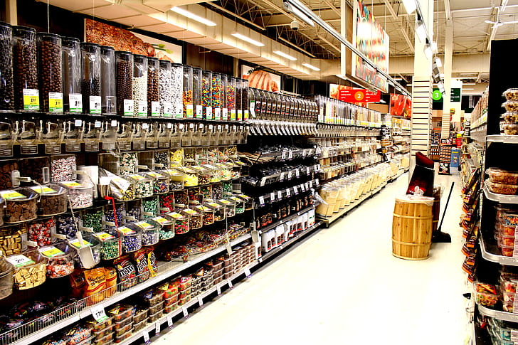 view from inside of grocery store