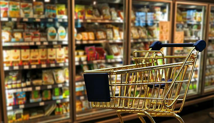 shopping cart near refrigerator