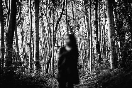 person wearing dress standing near trees grayscale photo
