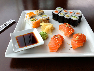 sushi on square white ceramic plate
