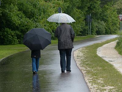 man wearing black windbreaker underneath umbrella