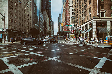 Wide angle shot taken at a traffic junction in Manhattan, New York City