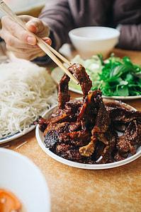 Eating Vietnamese Bun Cha