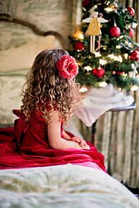 girl wearing red sleeveless dress