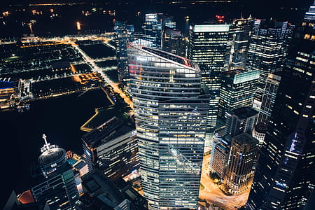 aerial photography of city high-rise buildings at nighttime
