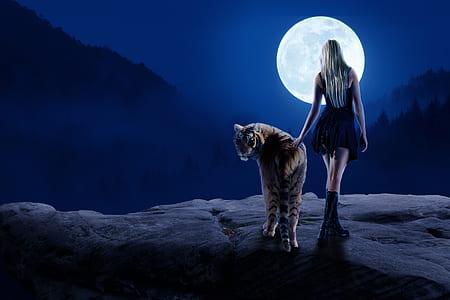 woman in black dress holding tiger digital wallpaper