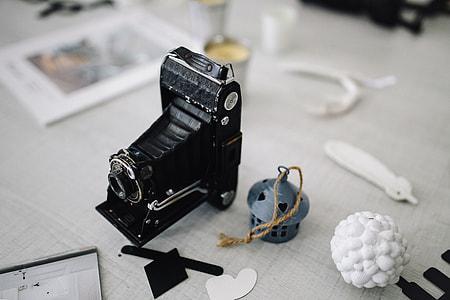 Vintage and contemporary cameras