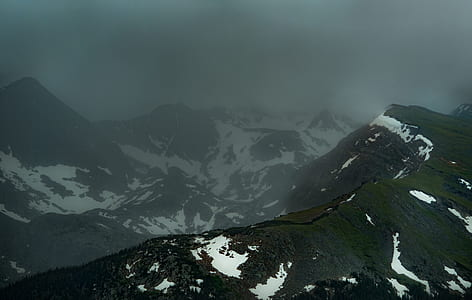 snow, mountain range, foggy, fog, mountain ridge, dark
