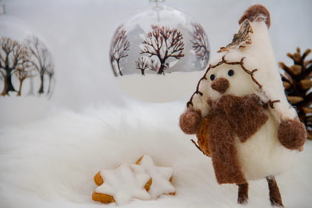 white snowman figurine beside the bauble
