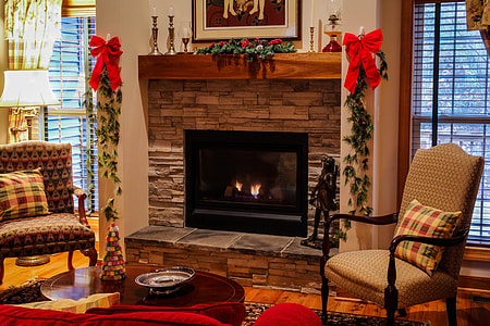 black and brown electric fireplace
