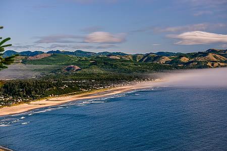 beach, lanscape, hill, cloud, forest, coastal