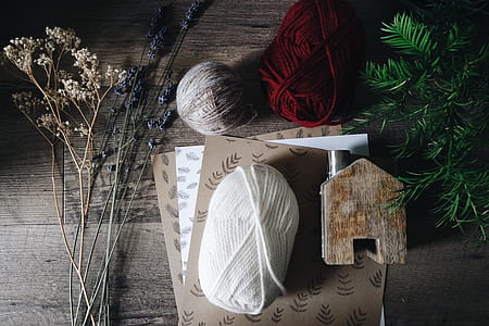 yarn and leaves flat lay photography