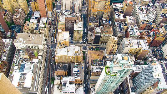 top view of buildings