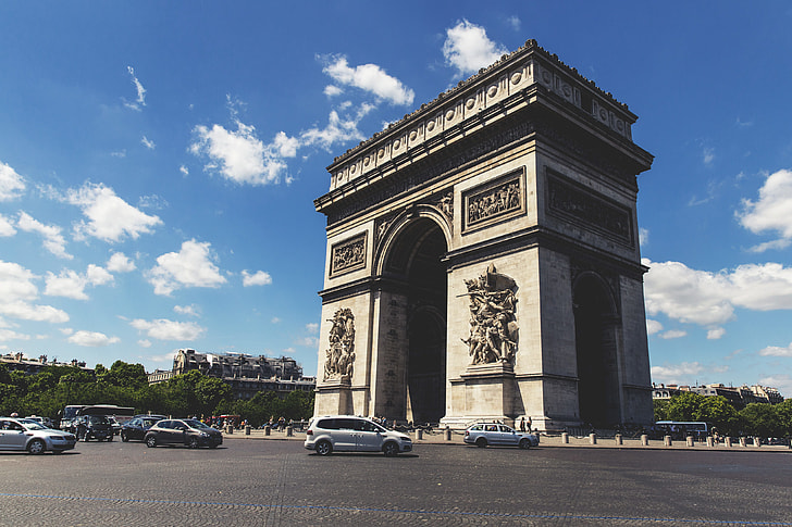 royalty free photo wide angle shot of the famous arc de triomphe in