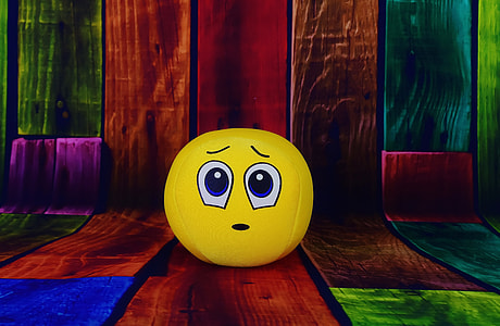 photography of scared emoji ball