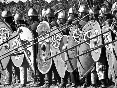 grayscale of knights during daytime