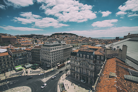 Wide-angle shot of Central Lisbon in Portugal, image captured with a Canon DSLR