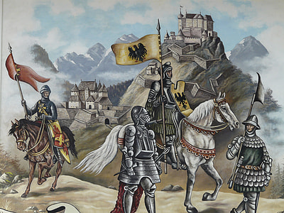 four assorted-armoured knights near castle painting