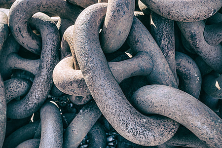 Close-up shot of some large metal chains captured in Kent, England. Image captured with a Canon 5D DSLR