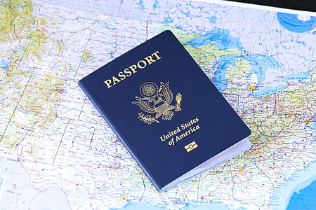 United States of America passport on map